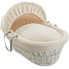 more details on Clair de Lune Honeycomb White Wicker Moses Basket - Cream.