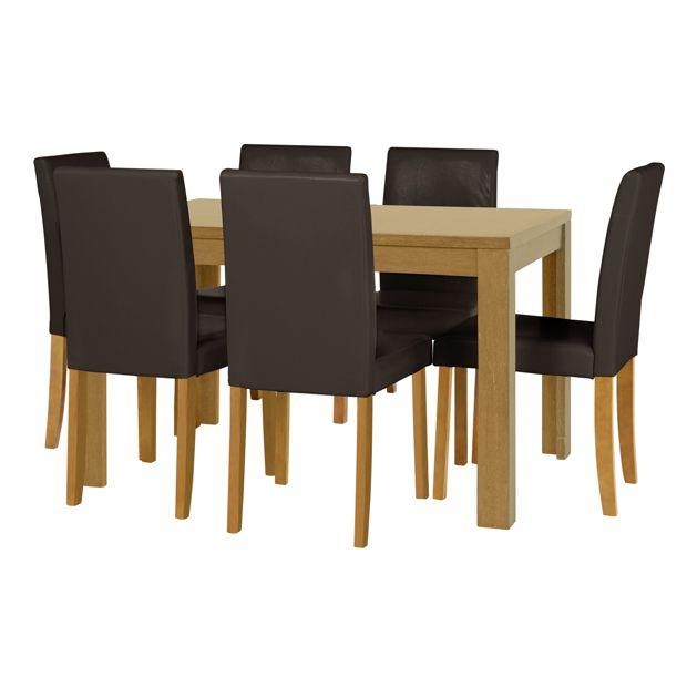 buy home penley extendable dining table and 6 chairs oak. Black Bedroom Furniture Sets. Home Design Ideas