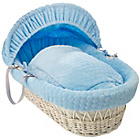 more details on Clair de Lune Marshmallow White Wicker Moses Basket - Blue.
