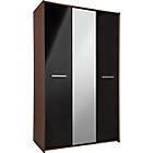 more details on New Sywell 3 Door Wardrobe - Walnut Effect and Black.