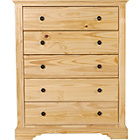 more details on Heart of House Warwick 5 Drawer Chest - Pine Effect.