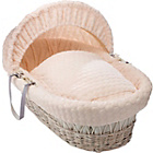 more details on Clair de Lune Marshmallow White Wicker Moses Basket - Cream.