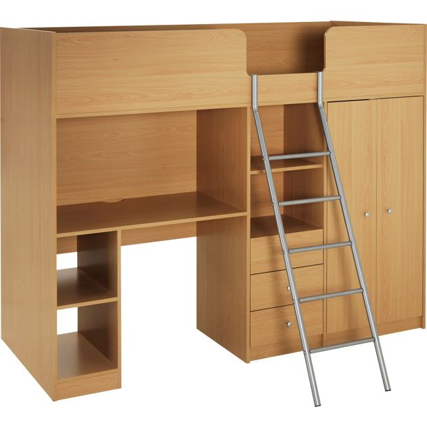 Buy Home Ohio Shorty High Sleeper Bed Frame Beech At