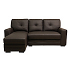 more details on Carmela Leather Left Hand Corner Sofa - Chocolate.