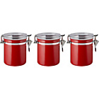 more details on Clip 3 Pack Glass Lid Storage Jars - Red.