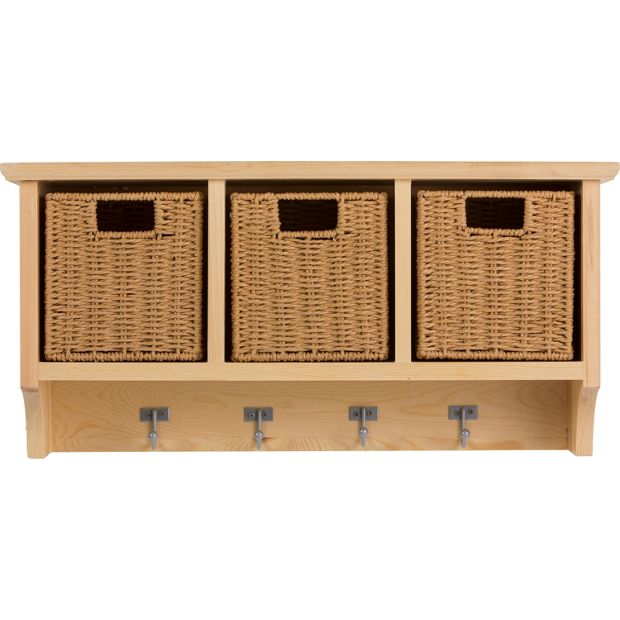 buy home pine wall storage unit with baskets at. Black Bedroom Furniture Sets. Home Design Ideas