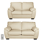more details on Collection Milano Leather Large and Regular Sofa - Ivory.