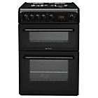 more details on Hotpoint HAG60K Double Gas Cooker - Black.