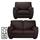 more details on Milano Regular Leather Sofa and Chair - Chocolate.