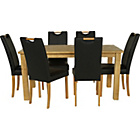 more details on Harrison Oak Stain 150cm Dining Table and 6 Black Chairs.
