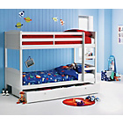 more details on Detachable White Bunk Bed with Storage and Ashley Mattress.