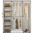 more details on HOME Metal and Polycotton Triple Wardrobe - Cream.