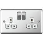 more details on Masterplug 13A Double Switched Socket - Polished Chrome.