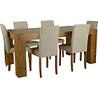 more details on Indiana Oak Dining Table and 6 Cream Midback Chairs.