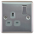 more details on Masterplug Single 13A Switched Socket - Brushed Steel.