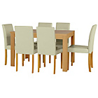 more details on Penley Oak Stain Extendable Dining Table and 6 Cream Chairs.