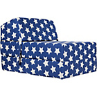more details on Stars Flip Out Chairbed - Blue and White.