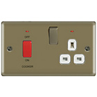 more details on Masterplug Dual Pole Cooker Switch and Socket - Pearl Nickel