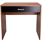 more details on Caspian 1 Drawer Office Desk - Walnut and Black Gloss.