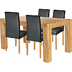 more details on Indiana Oak Dining Table and 4 Black Midback Chairs.