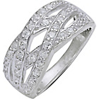 more details on Sterling Silver Cubic Zirconia Multi Crossover Ring - Size N