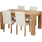 more details on Indiana Oak Dining Table and 4 Cream Midback Chairs.