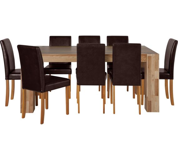 buy collection indiana dining table and 8 chairs oak. Black Bedroom Furniture Sets. Home Design Ideas