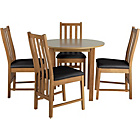 more details on Elton Oak Circular Dining Table and 4 Black Chairs.