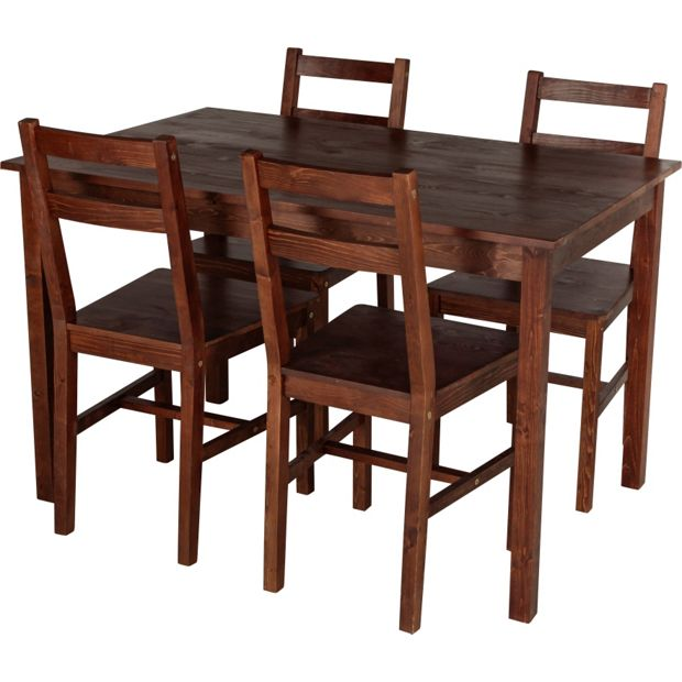 Buy HOME Raye Solid Wood Dining Table And 4 Chairs Dark Pine At