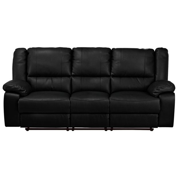Buy home bruno 3 seat leather eff manual recliner sofa black at your online shop Buy home furniture online uk
