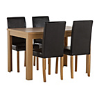 more details on Penley Oak Stain Extendable Dining Table and 4 Black Chairs.