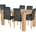 more details on Indiana Oak Dining Table and 6 Black Midback Chairs.