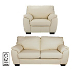 more details on Milano Large Leather Sofa and Chair - Ivory.