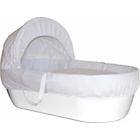 more details on Shnuggle White Moses Basket with White Covers and Mattress.