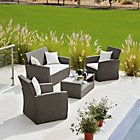 more details on Rattan Effect 4 Seater Patio Set with Cushions - Brown.