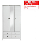 more details on Collection Osaka 3 Door 4 Drawer Mirrored Wardrobe - White.