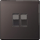 more details on Masterplug 2 Gang 2 Way Light Switch - Black Nickel.