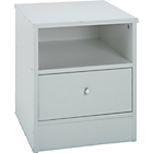 more details on New Malibu 1 Drawer Bedside Chest - White.