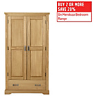 more details on Mendoza 2 Door 1 Drawer Wardrobe - Pine with Oak Stain