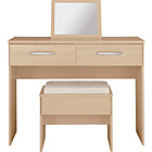 more details on New Hallingford Dressing Table, Stool and Mirror - Light Oak
