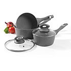 more details on Salter 3 Piece Marble Coated Pan Set - Grey.