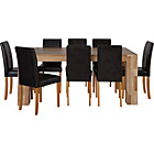 more details on Indiana Oak Dining Table and 8 Black Mid Back Chairs.
