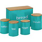 more details on ColourMatch 5 Pack Wooden lid Storage Jars - Aqua.