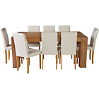more details on Indiana Oak Dining Table and 8 Cream Mid Back Chairs.