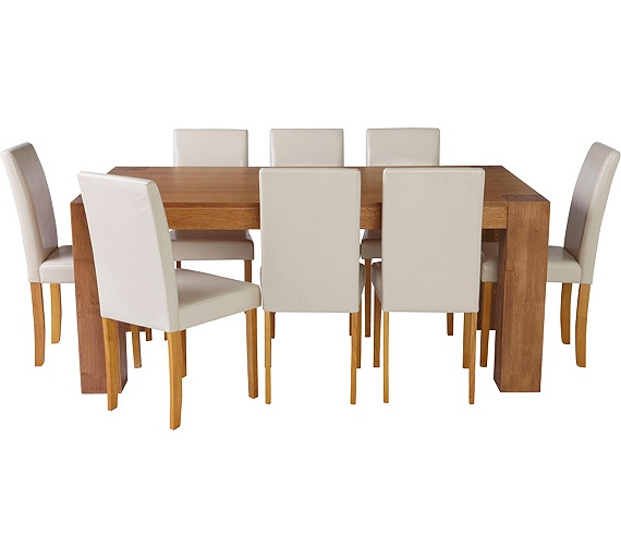 Buy collection indiana dining table and 8 chairs oak for Cream dining room table and chairs