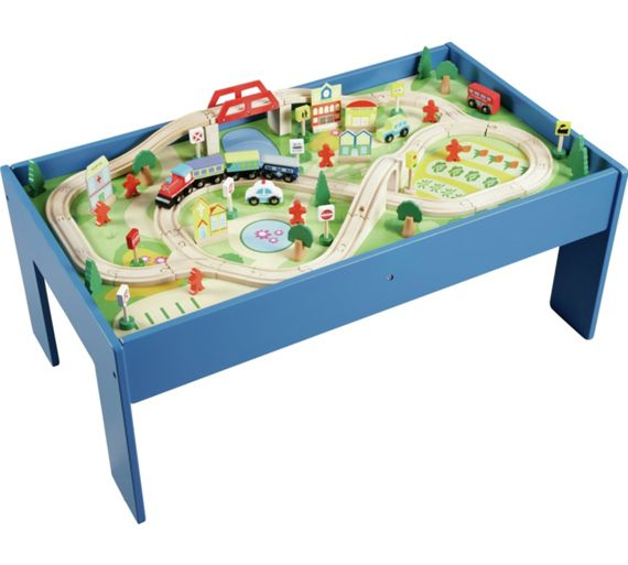 Buy Chad Valley Wooden Table And 90 Piece Train Set At