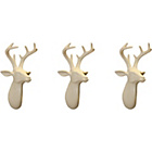 more details on Arthouse Set of 3 Mini Stag Head Ornaments - Cream.