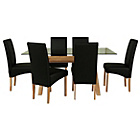 more details on Hartley Glass Dining Table and 6 Black Chairs.