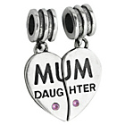 more details on Link Up Sterling Silver Mum and Heart Drop Charms - 2.