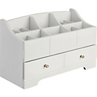 more details on White Wooden 12 Compartment/1 Drw Jewellery and Cosmetic Box